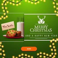 Feliz Natal e Feliz Ano Novo, cartão postal de saudação quadrado verde para site com guirlanda, botão laranja e biscoitos com um copo de leite para o Papai Noel