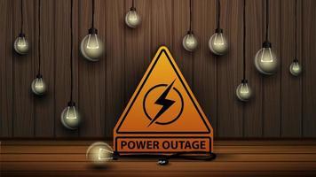 queda de energia, logotipo de aviso amarelo no fundo da parede de madeira e lâmpadas fracas vetor