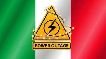 queda de energia, sinal de alerta amarelo embrulhado com uma guirlanda no fundo da bandeira da itália vetor