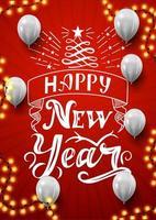 feliz ano novo, cartão postal vertical vermelho com lindas letras, guirlanda e balões brancos
