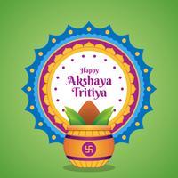 Celebração de Akshaya Tritiya com uma ilustração dourada de Kalash