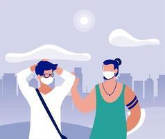 homens com máscaras no parque em frente a edifícios vetoriais de design