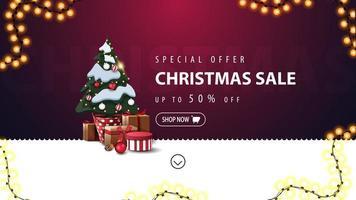 oferta especial, liquidação de natal, desconto de até 50, banner roxo e branco de desconto para site com linha ondulada, guirlanda e árvore de natal em um pote com presentes