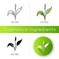ícone da árvore do chá. componente do produto para cuidados com a pele. vetor