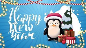 feliz ano novo, cartão postal azul com nuvem abstrata de círculos, guirlandas e pinguim com chapéu de Papai Noel com presentes
