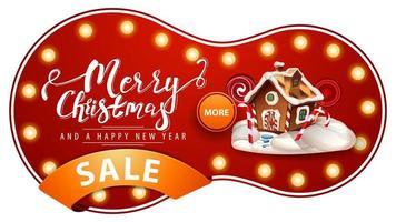 Feliz Natal e Feliz Ano Novo, banner de desconto vermelho com lâmpadas, fita laranja e casa de pão de mel de Natal