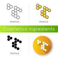 ícone de própolis. favos de mel. célula de colmeia. componente de tratamento de acne. vetor