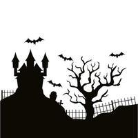 silhueta de castelo assombrado de halloween vetor
