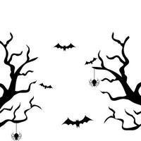 árvores secas com morcegos voando e aranhas vetor