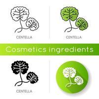 ícone de centela. planta curativa. componente de ervas. skincare natural. vetor