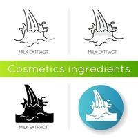 ícone de extrato de leite. fonte de proteína. skincare natural. loção de beleza. creme anti-envelhecimento. vetor