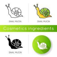 ícone de mucina de caracol. componente natural para a pele. efeito de cura. efeito reparador para a pele. vetor