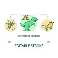 ícone do conceito de animais pré-históricos. répteis e insetos antigos. vetor