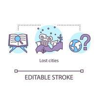 ícone do conceito de cidades perdidas. antigo assentamento pesquisando. sítio arqueológico. vetor
