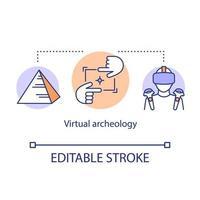 ícone do conceito de arqueologia virtual. modelagem por computador, visualização de monumentos históricos.