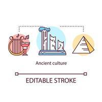 ícone do conceito de cultura antiga. história da ilustração de linha fina de ideia de civilização mundial. vetor