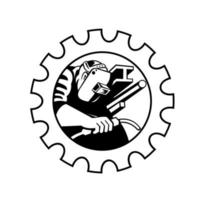 trabalhador soldador tocha de soldagem engatada na engrenagem vetor