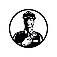 guarda de segurança com lanterna em círculo de visão frontal