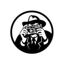 fotógrafo usando câmera de tiro fedora vetor