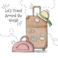 Travel Baggages With Woman Hat À Temporada De Verão vetor