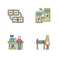 conjunto de ícones de cores rgb do terminal do aeroporto. troca de dinheiro. recarga de energia. quiosque de autoatendimento. balcão de check-in para voo. trocador para mãe e bebê. ilustrações vetoriais isoladas