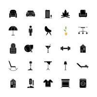 amenidades de apartamento ícones de glifo preto em espaço branco vetor