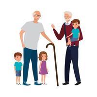 grupo de avós com netos vetor