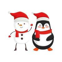 boneco de neve com personagens pinguins de feliz natal vetor