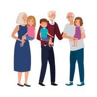 avós com netos personagem avatar vetor
