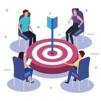 grupo de equipe de trabalho em reunião com alvo vetor