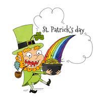 Caráter bonito de St Patrick com pote de cozinhar e arco-íris