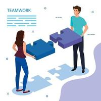 trabalho equipe casal com peças de quebra-cabeça vetor