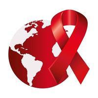 fita de conscientização do dia da aids com o planeta Terra vetor