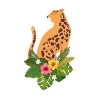 animal leopardo com ícone isolado de flores e folhas vetor