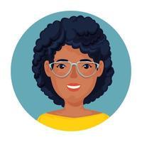 linda mulher afro com óculos em moldura circular vetor