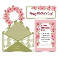 Vector Cartão de flores de cerejeira do dia das mães e envelope