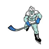 abominável boneco de neve mascote jogador de hóquei no gelo
