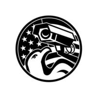 águia americana e câmera de segurança círculo da bandeira dos EUA vetor