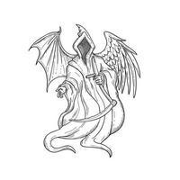 ceifador ou anjo da morte com asas de pássaro
