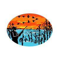 pato caçador inundado milharal oval retro