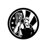 ícone da bandeira dos EUA de limpador industrial americano vetor