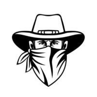 cowboy bandido bandido salteador de estrada ou ladrão de banco vetor