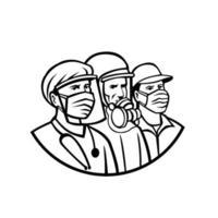 trabalhadores essenciais usando máscara de heróis preto e branco retrô vetor