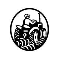 agricultor orgânico arando campo com trator oval vintage vetor