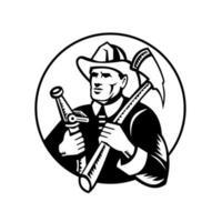 bombeiro segurando machado de incêndio e xilogravura de círculo