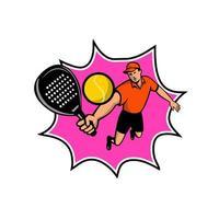 jogador de padel com mascote retrô raquete saltando bll
