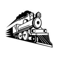 locomotiva a vapor acelerando mascote retrô