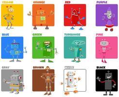 cores básicas definidas com personagens de desenhos animados de robôs vetor