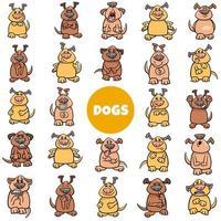 grande conjunto de emoções e humores de personagens de desenhos animados de cães vetor