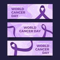 coleção de banners do dia mundial do câncer vetor